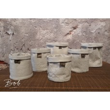 Bob Mixed pots rubber / jute light grey 13 cm.