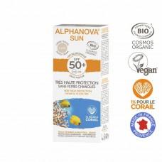 BIO SPF 50+ Getinte zonnebrandcreme allergische gevoelige huid- waterproof
