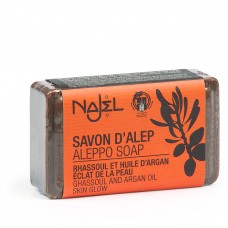 Najel Aleppo zeep blok Rhassoul en Argan olie 100 gram doos 20 stuks